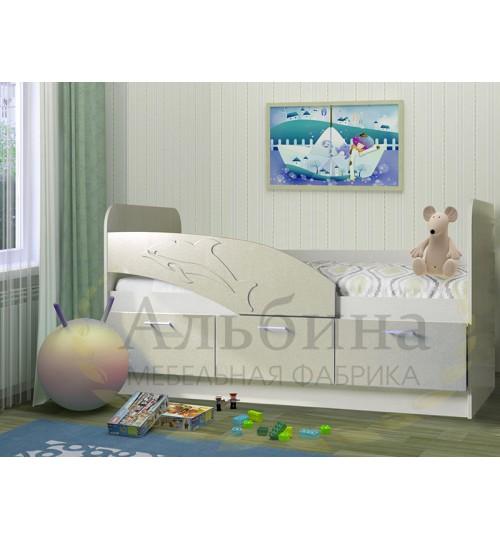 Детская кровать Дельфин 1,6 с матрасом